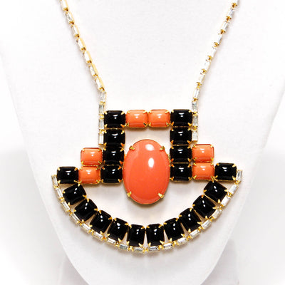 1970's Coral and Black Statement Necklace with Rhinestones by KJL by KJL - Vintage Meet Modern Vintage Jewelry - Chicago, Illinois - #oldhollywoodglamour #vintagemeetmodern #designervintage #jewelrybox #antiquejewelry #vintagejewelry