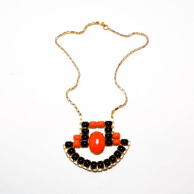 Vintage 1970'S CORAL AND BLACK STATEMENT NECKLACE WITH RHINESTONES BY KJL by KJL - Vintage Meet Modern - Chicago, Illinois