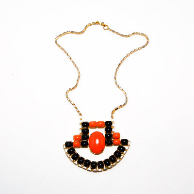 1970's Coral and Black Statement Necklace with Rhinestones by KJL by KJL - Vintage Meet Modern - Chicago, Illinois