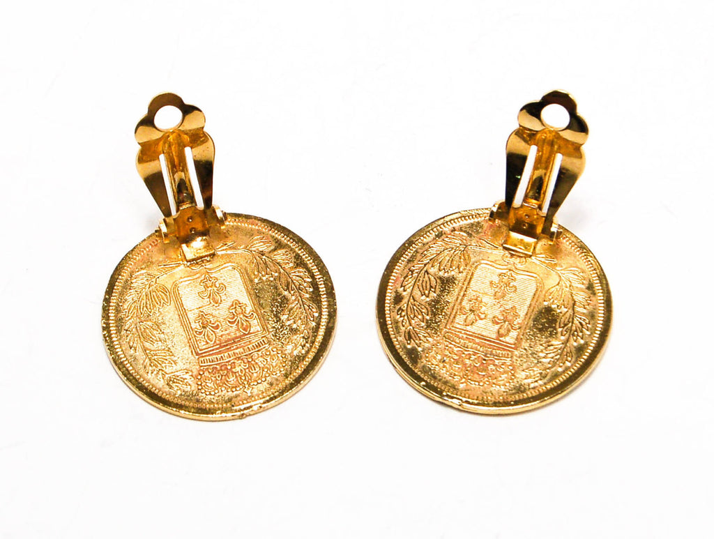1980's French Coin Clip Earrings, Earrings - Vintage Meet Modern