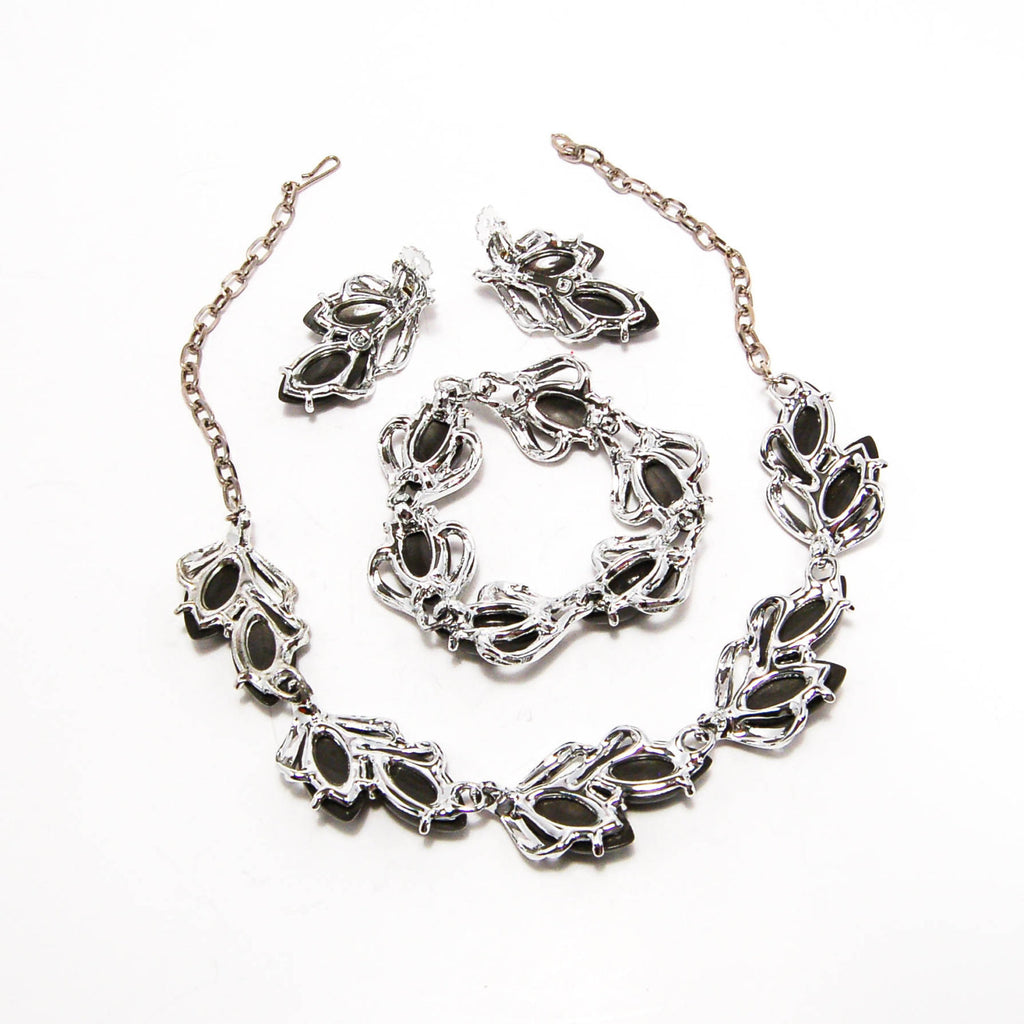 1960's Thermoset Silver and Grey Necklace Earrings and Bracelet Set, Jewelry Sets - Vintage Meet Modern