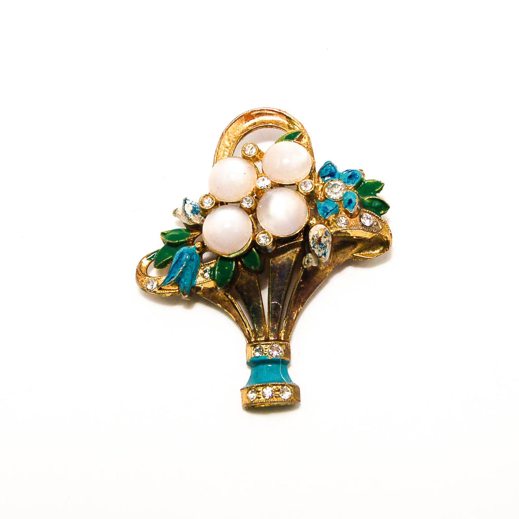 1940s Basket of Flowers Brooch with Rhinestones and Moonstones, Brooches - Vintage Meet Modern