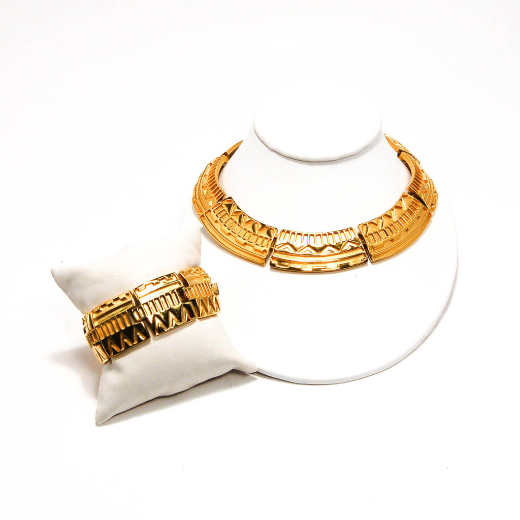 Egyptian Revival Bracelet and Collar Necklace Set by Monet - Vintage Meet Modern  - 2
