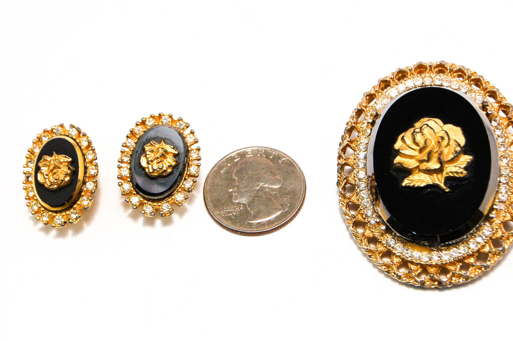 1950's Rose Cameo Pendant Brooch and Earrings Set by Celebrity, Jewelry Sets - Vintage Meet Modern