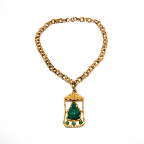 1940's Royal Crown Medallion Necklace