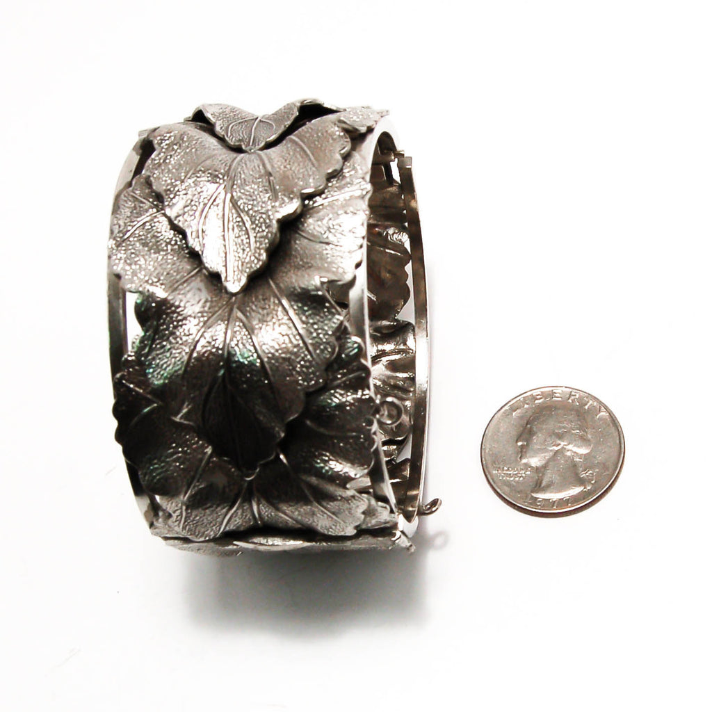 Art Nouveau Silver Leaf cuff bracelet by Whiting and Davis, Wide Bold Style, Bracelet - Vintage Meet Modern