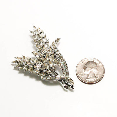 1950's Silver Tone Rhinestone Wheat Brooch by 1950's - Vintage Meet Modern Vintage Jewelry - Chicago, Illinois - #oldhollywoodglamour #vintagemeetmodern #designervintage #jewelrybox #antiquejewelry #vintagejewelry
