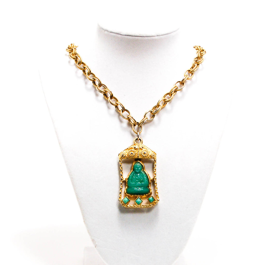 1960's Reversible Faux Jade Carved Buddha Necklace, Necklaces - Vintage Meet Modern