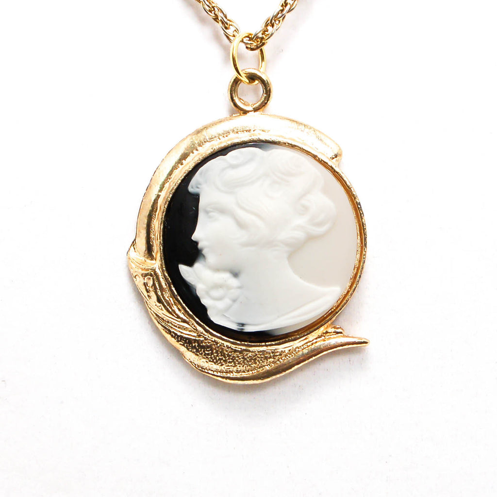 1940's Black and White Cameo Necklace, Necklaces - Vintage Meet Modern