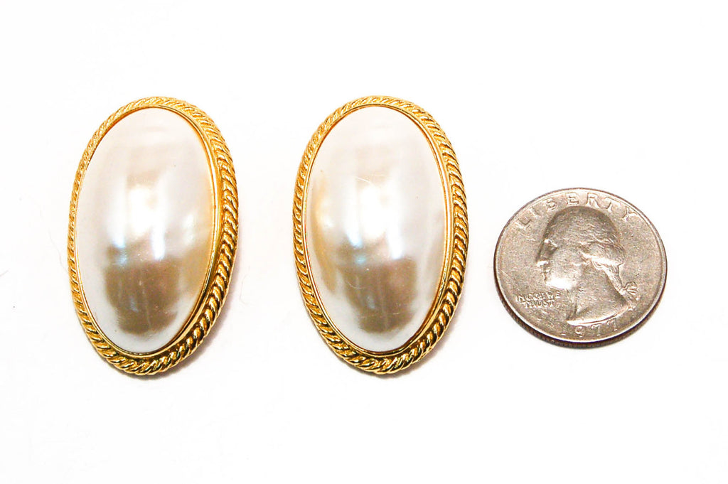 1980's Oval Mabe Pearl Earrings by Givenchy, Earrings - Vintage Meet Modern