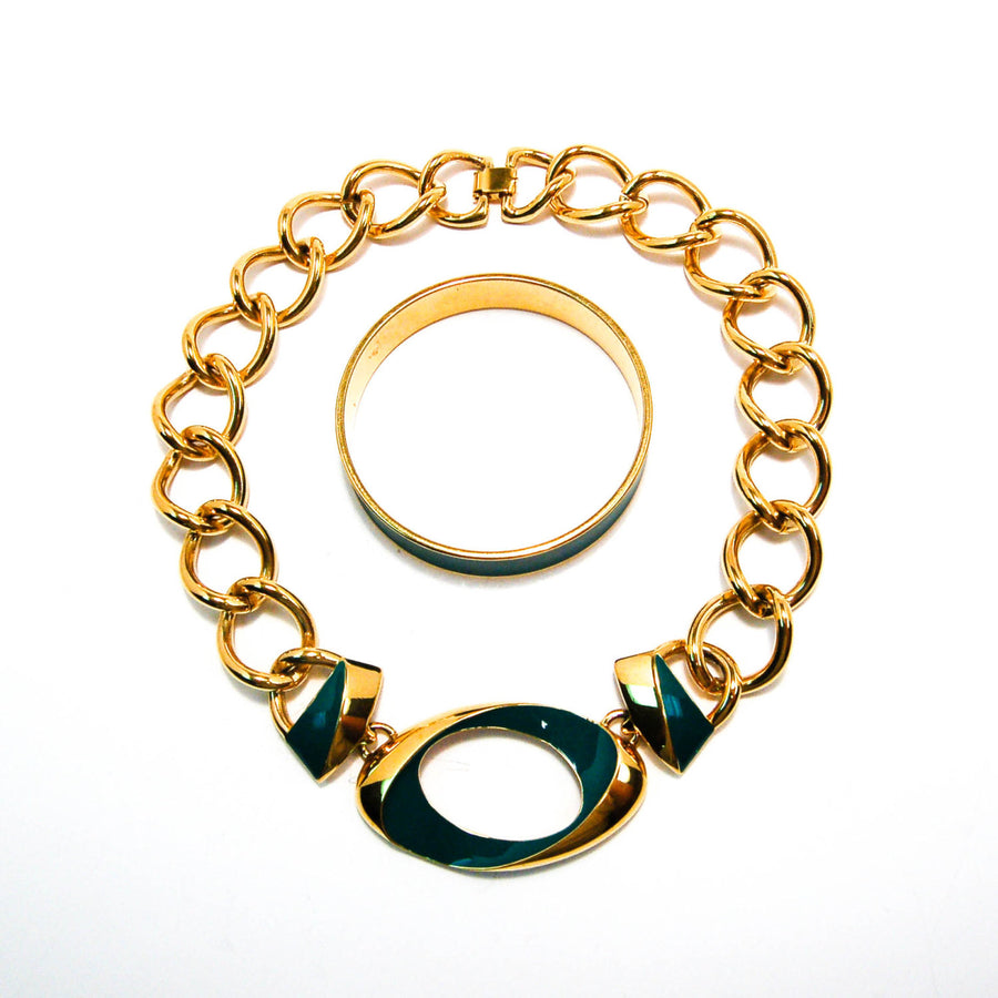 Vintage Monet Gold Chunky Chain Necklace With Green Enamel Accent