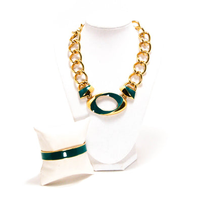 Vintage Monet Gold Chunky Chain Necklace with Green Enamel Accent, Jewelry Sets - Vintage Meet Modern