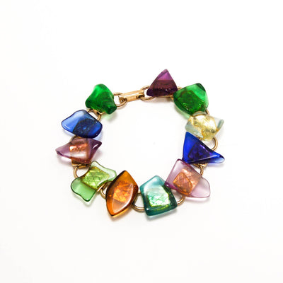 1960's Colorful Beach Art Glass Bracelet by 1960s Vintage - Vintage Meet Modern Vintage Jewelry - Chicago, Illinois - #oldhollywoodglamour #vintagemeetmodern #designervintage #jewelrybox #antiquejewelry #vintagejewelry