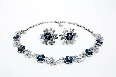 Floral Blue Rhinestone Necklace and Earrings Set by Coro, Jewelry Sets - Vintage Meet Modern