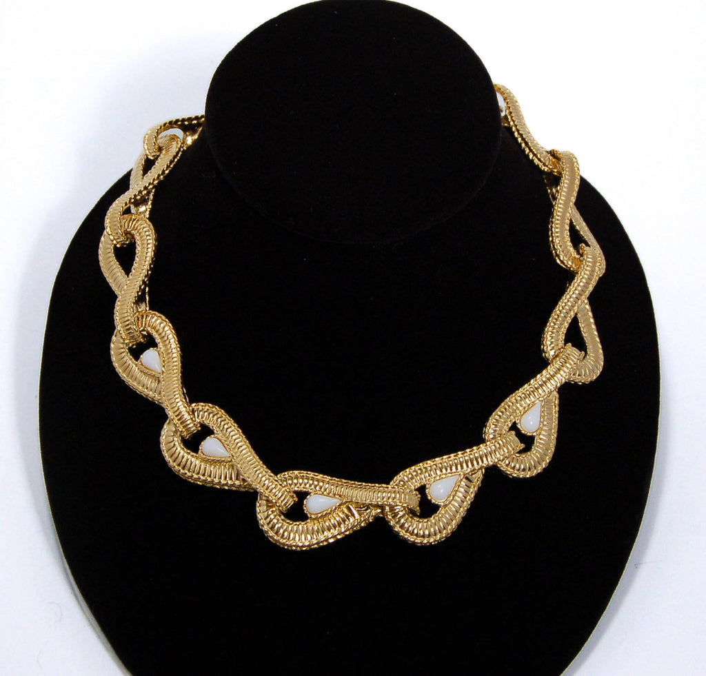 Gold Tone Tear Drop Link Necklace by Givenchy, Necklaces - Vintage Meet Modern