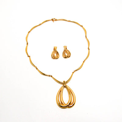 Gold Statement Necklace and Earrings by Crown Trifari, Jewelry Sets - Vintage Meet Modern