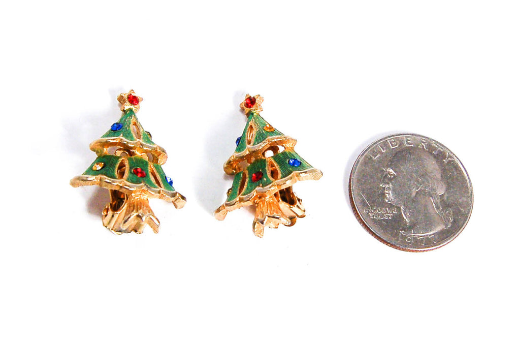 Rhinestone Christmas Tree Clip Earrings - Vintage Meet Modern  - 3