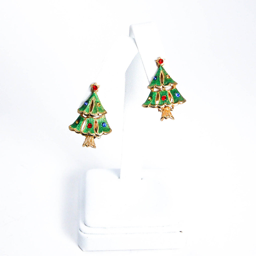 Rhinestone Christmas Tree Clip Earrings - Vintage Meet Modern  - 4