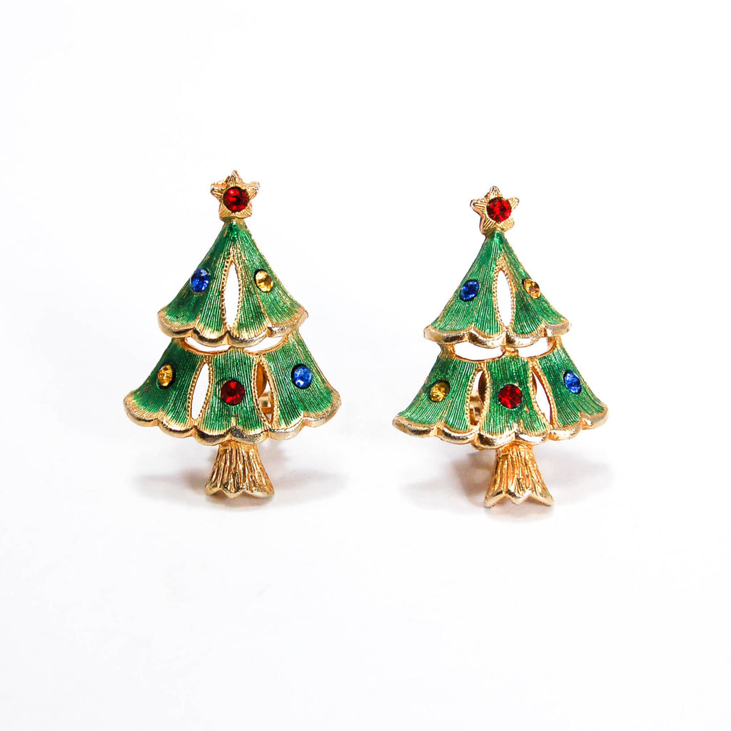 Rhinestone Christmas Tree Clip Earrings, Earrings - Vintage Meet Modern