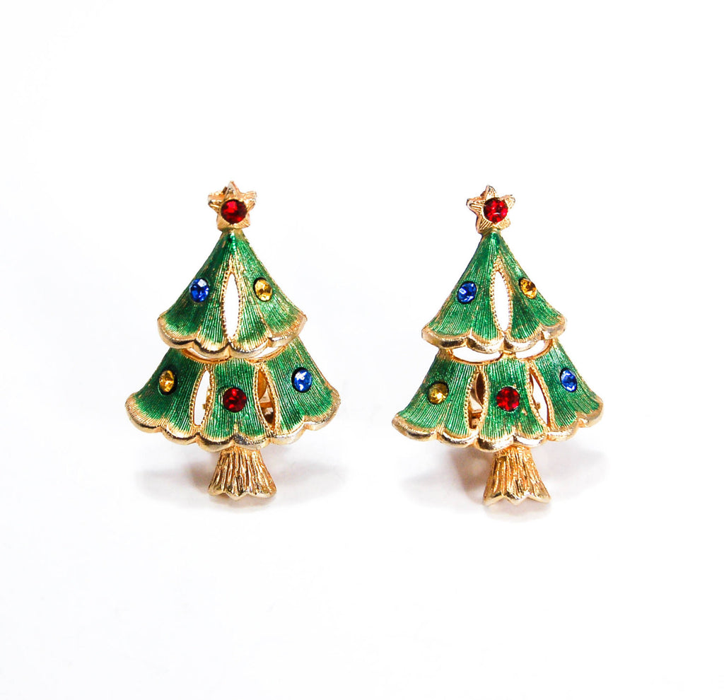 Rhinestone Christmas Tree Clip Earrings - Vintage Meet Modern  - 2
