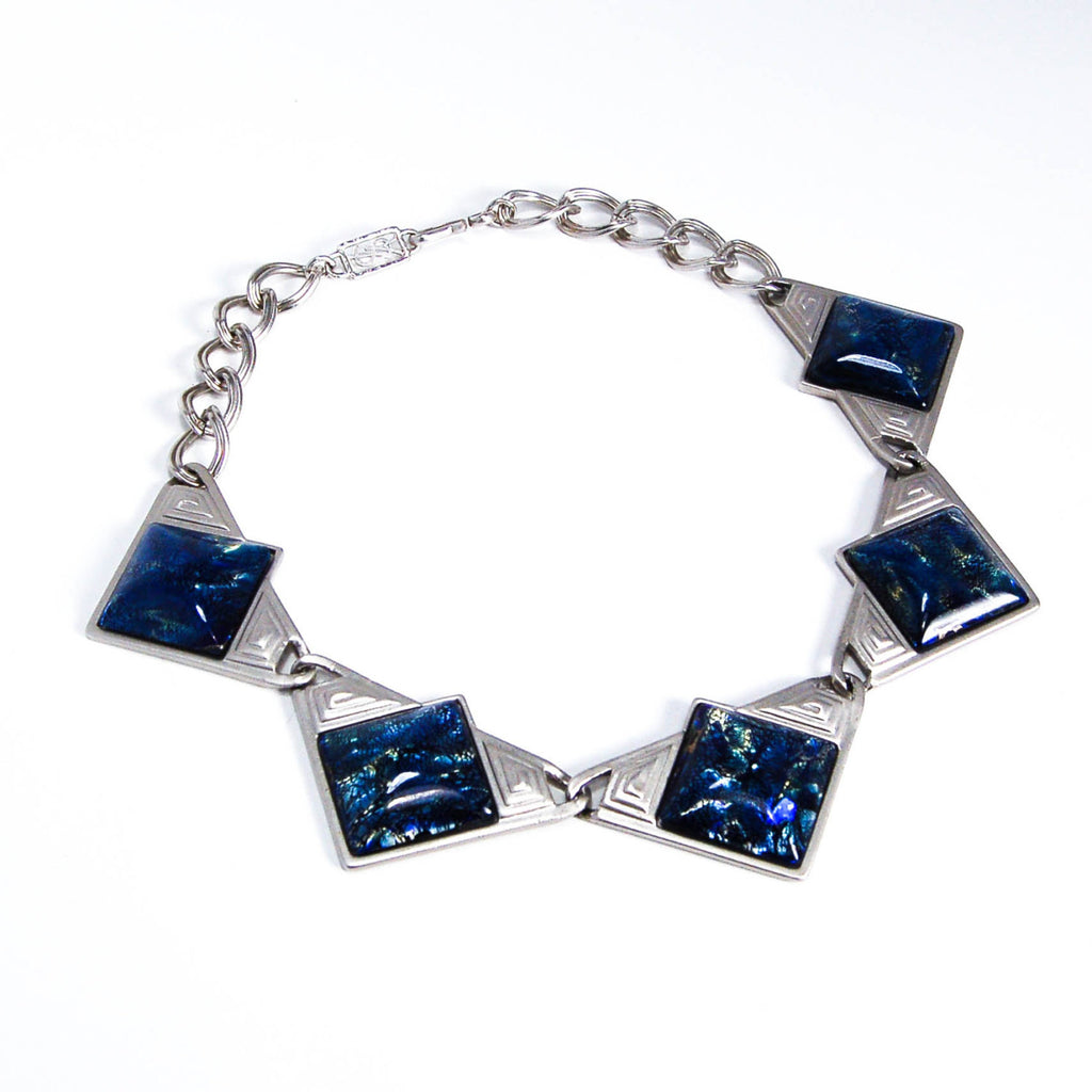 YSL Dichroic Blue Glass Necklace - Vintage Meet Modern  - 1