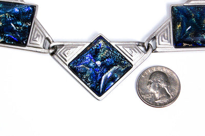 YSL Dichroic Blue Glass Necklace by YSL - Vintage Meet Modern - Chicago, Illinois