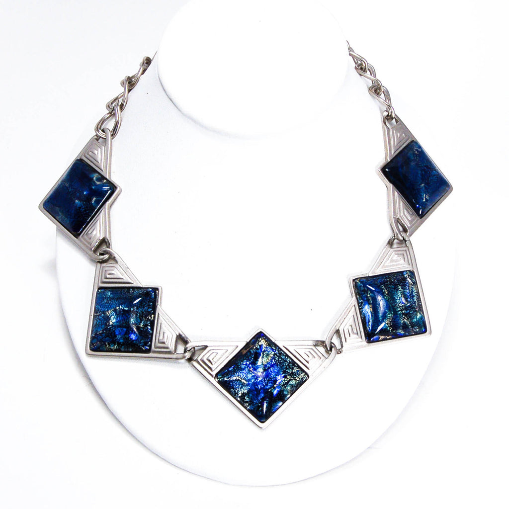 YSL Dichroic Blue Glass Necklace - Vintage Meet Modern  - 2