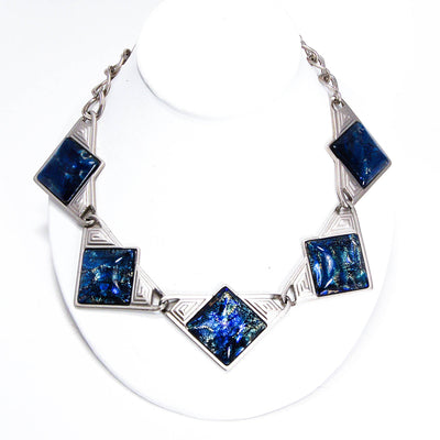 YSL Dichroic Blue Glass Necklace by YSL - Vintage Meet Modern Vintage Jewelry - Chicago, Illinois - #oldhollywoodglamour #vintagemeetmodern #designervintage #jewelrybox #antiquejewelry #vintagejewelry