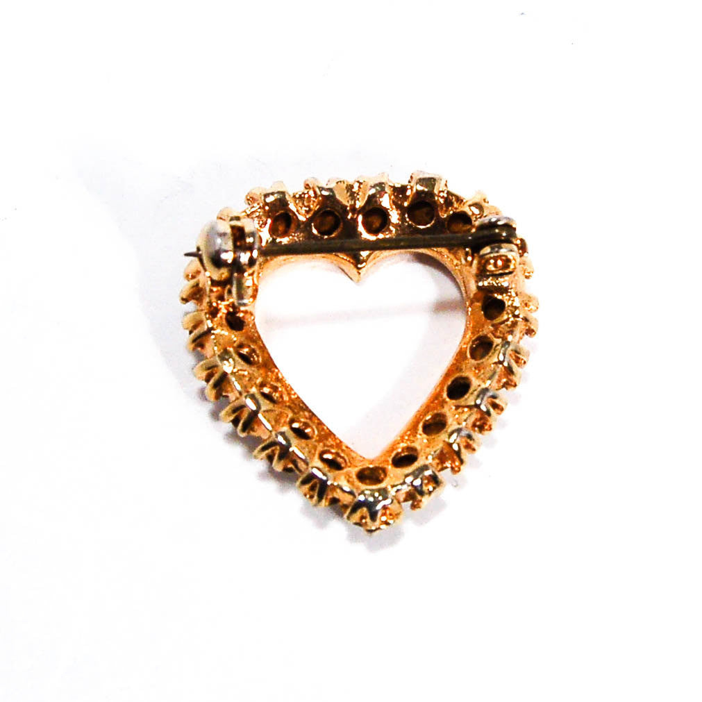 1980's Petite Heart Brooch with Rhinestone Details, Brooches - Vintage Meet Modern