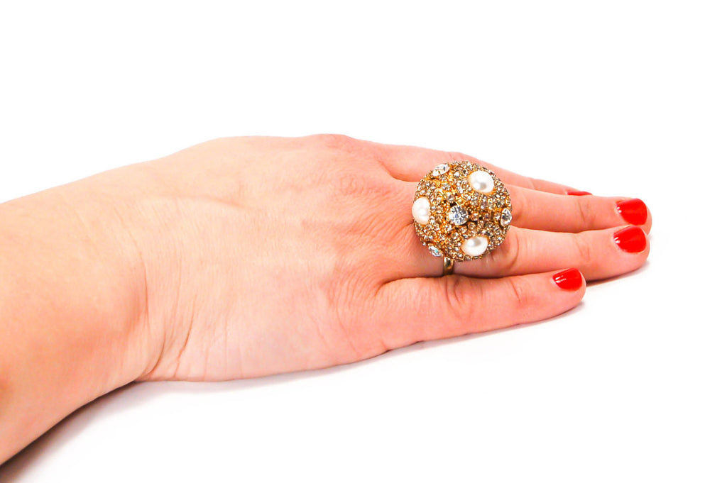 Pearl and Rhinestone Statement Ring by Erickson  Beamon - Vintage Meet Modern  - 3