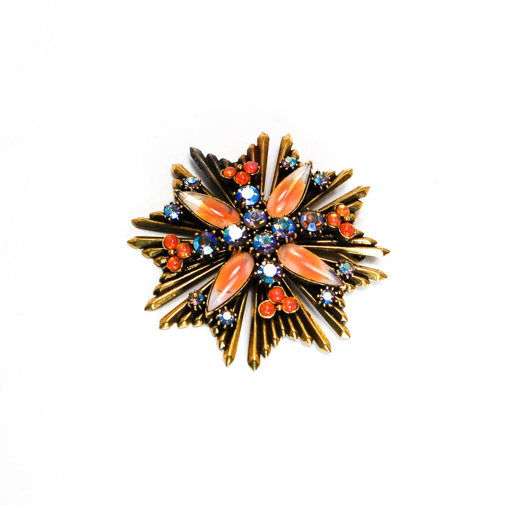 Maltese Cross Brooch with Faux Fire Opal by Florenza - Vintage Meet Modern  - 2