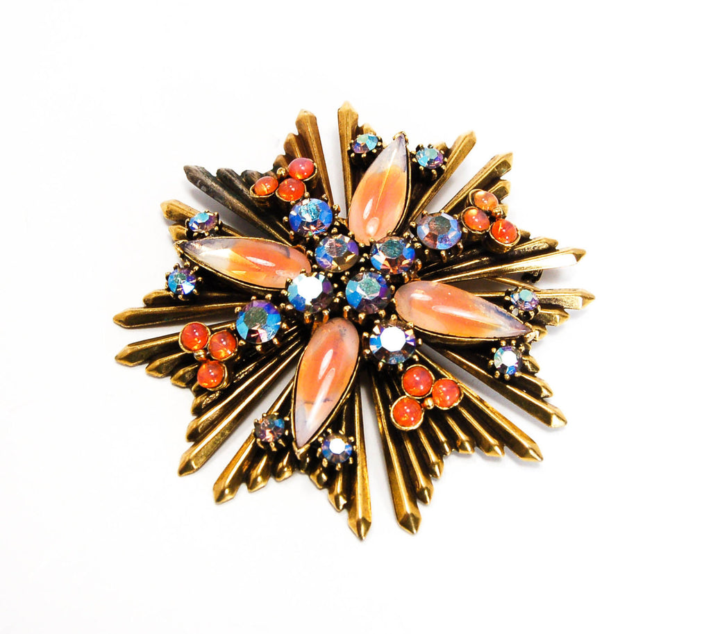 Maltese Cross Brooch with Faux Fire Opal by Florenza - Vintage Meet Modern  - 1
