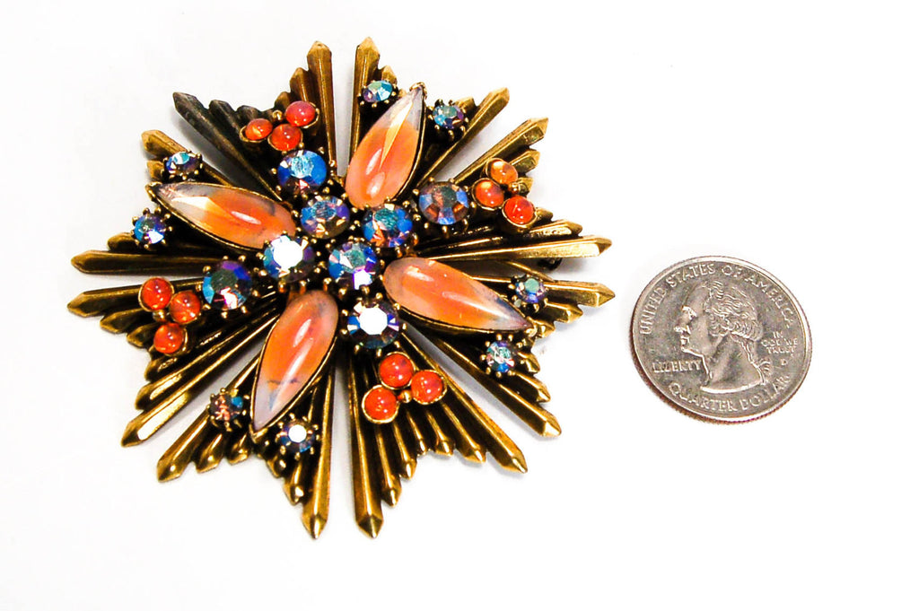 Maltese Cross Brooch with Faux Fire Opal by Florenza - Vintage Meet Modern  - 3