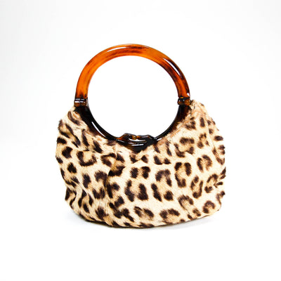 1950's Leopard Print Handbag with Tortoise Lucite Handle, Accessories - Vintage Meet Modern