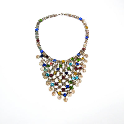 1970's Colorful Bib Necklace with Art Glass Rhinestones, Necklaces - Vintage Meet Modern