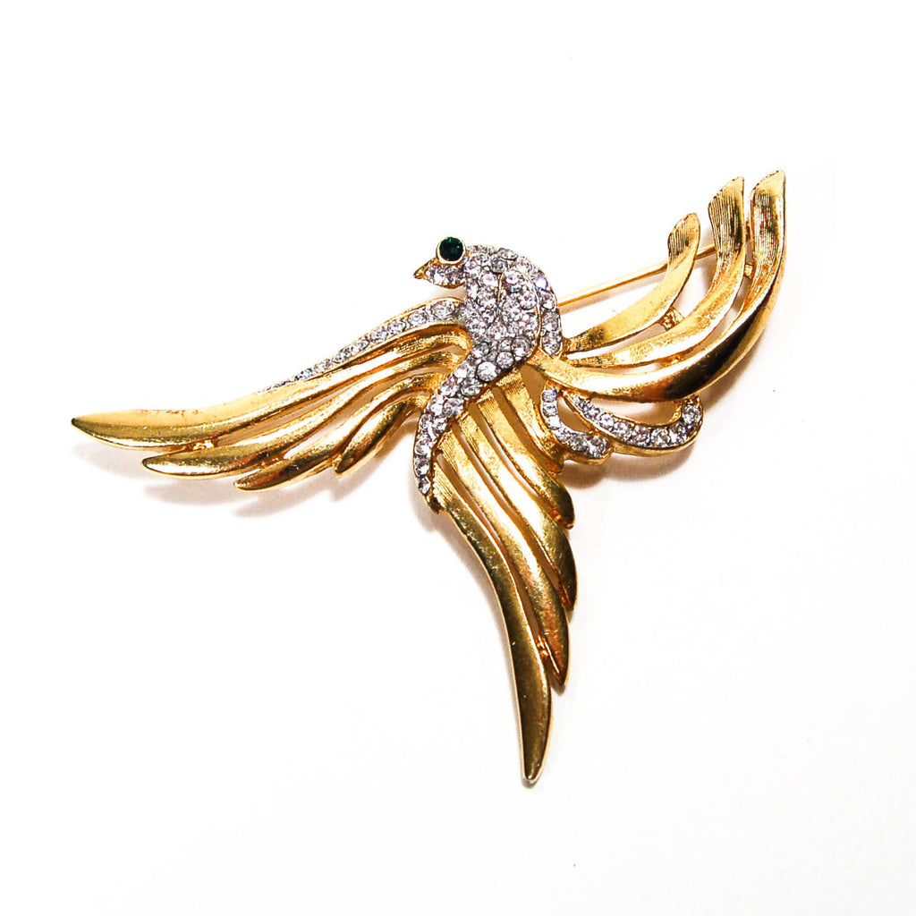 1960's Gold Rising Phoenix Brooch with Rhinestones, Brooches - Vintage Meet Modern