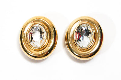 Large Oval Rhinestone Earrings by Givenchy by Givenchy - Vintage Meet Modern - Chicago, Illinois