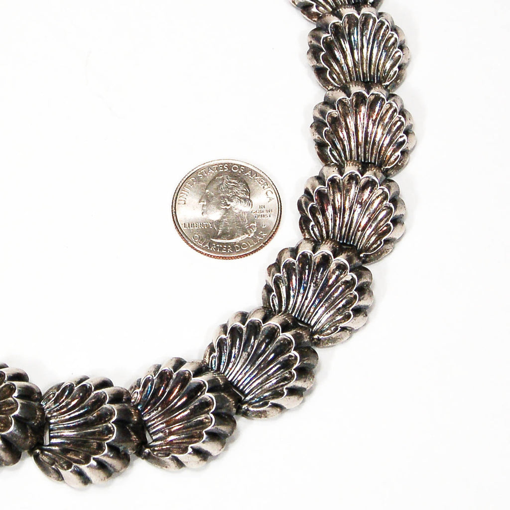 Silver Tone Scalloped Shell Necklace by Napier - Vintage Meet Modern  - 4