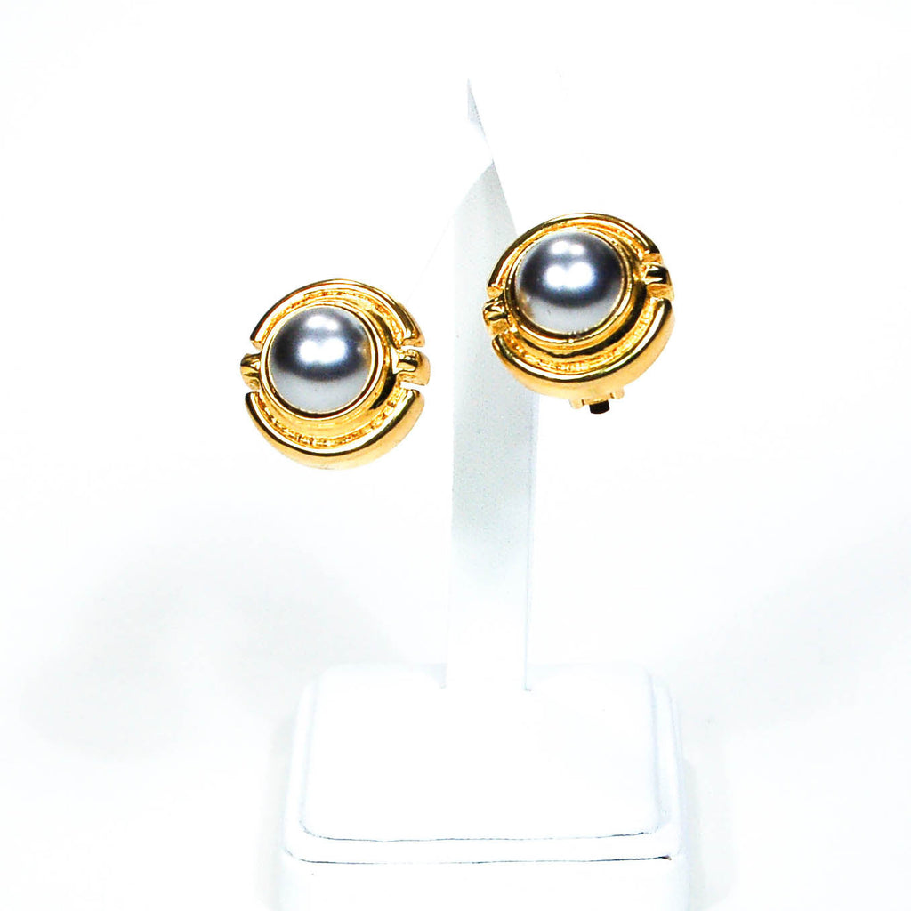 1980's Round Gold Tone Grey Pearl Earrings, Earrings - Vintage Meet Modern
