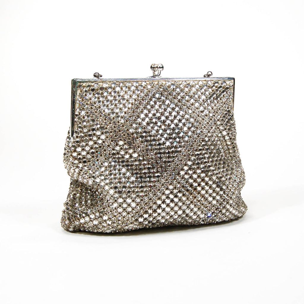 Silver Tone Rhinestone Covered Evening Bag by Walborg, Purses - Vintage Meet Modern
