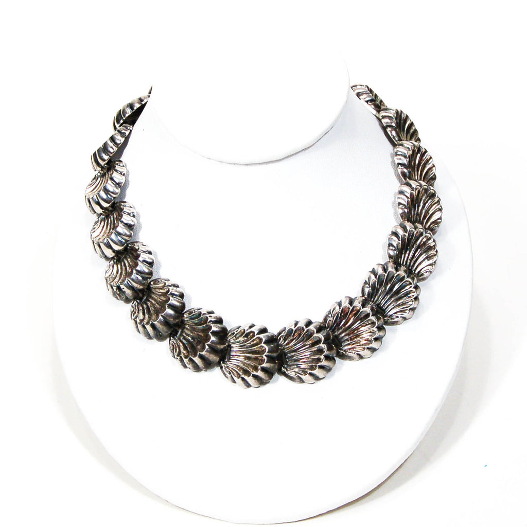 Silver Tone Scalloped Shell Necklace by Napier - Vintage Meet Modern  - 2
