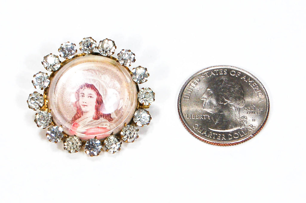 Miniature Victorian Lady Portrait Brooch Round with Rhinestones - Vintage Meet Modern  - 3