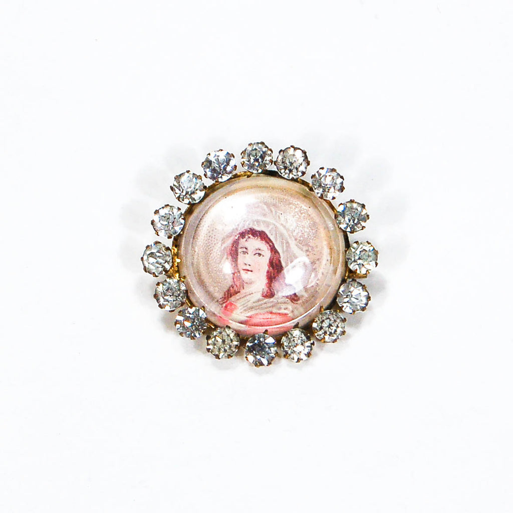 Miniature Victorian Lady Portrait Brooch Round with Rhinestones - Vintage Meet Modern  - 2
