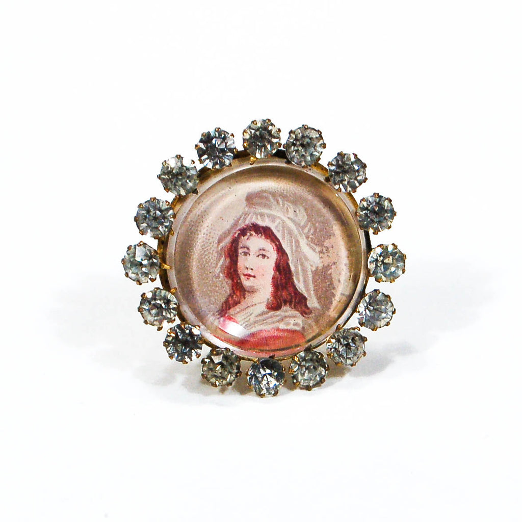 Miniature Victorian Lady Portrait Brooch Round with Rhinestones, Brooches - Vintage Meet Modern