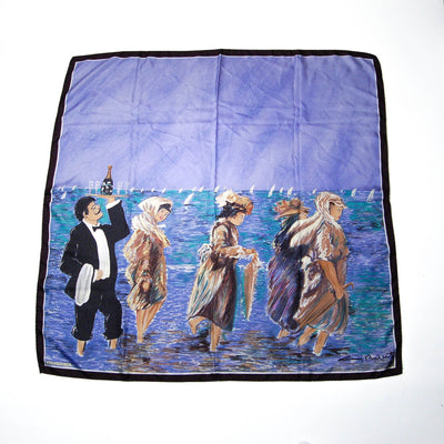 Sunday at Sea Guy Buffet Silk Scarf Museum Replica Fine Art Collector Blue Purple Black by Silk Scarf - Vintage Meet Modern - Chicago, Illinois