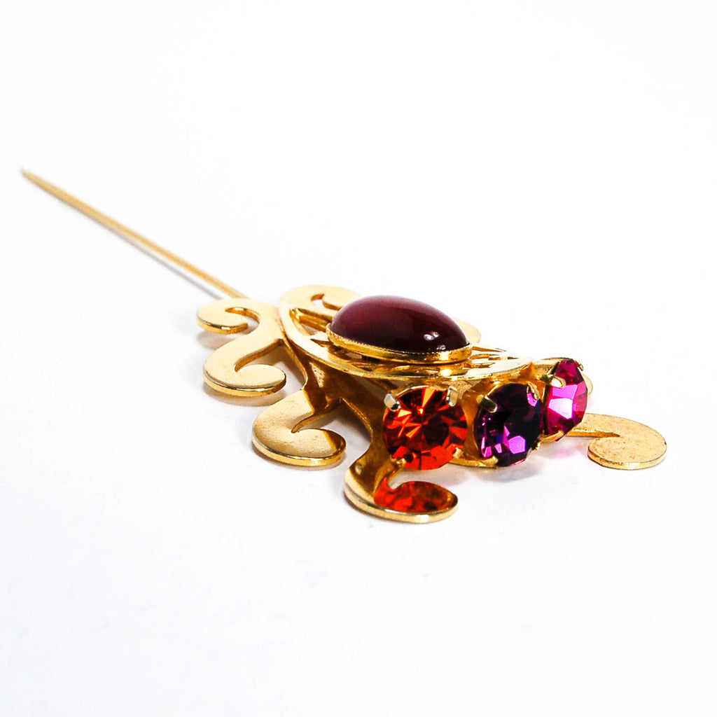 1980s Purple and Pink Rhinestone Stick Pin, Brooches - Vintage Meet Modern