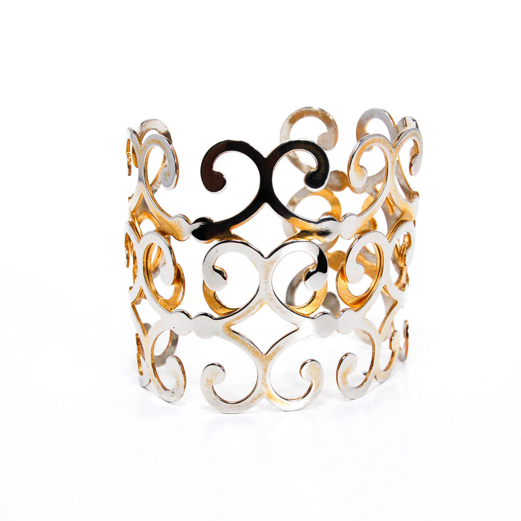 Gold Scroll Cuff Bracelet - Vintage Meet Modern  - 3