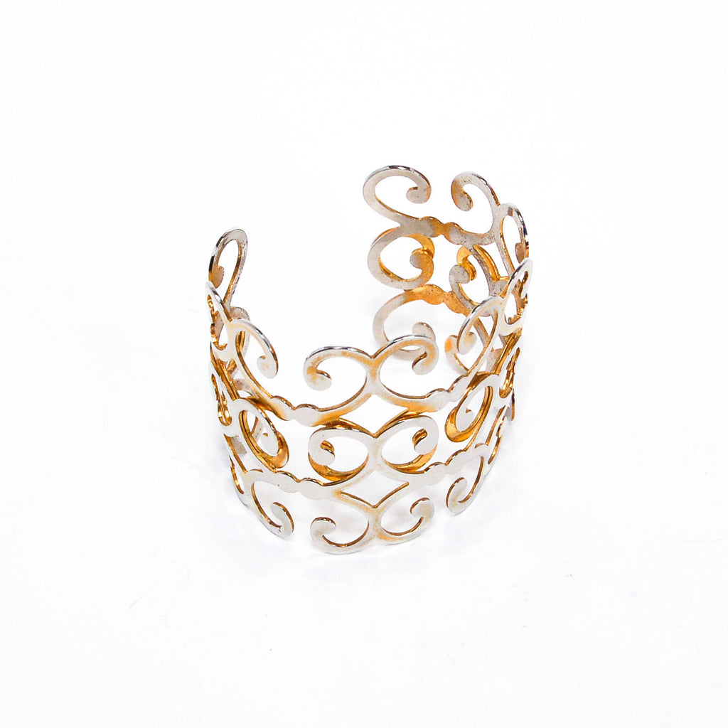 Gold Scroll Cuff Bracelet - Vintage Meet Modern  - 2