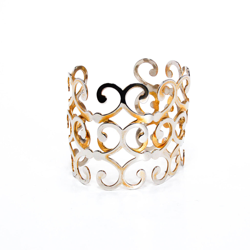 Gold Scroll Cuff Bracelet - Vintage Meet Modern  - 1