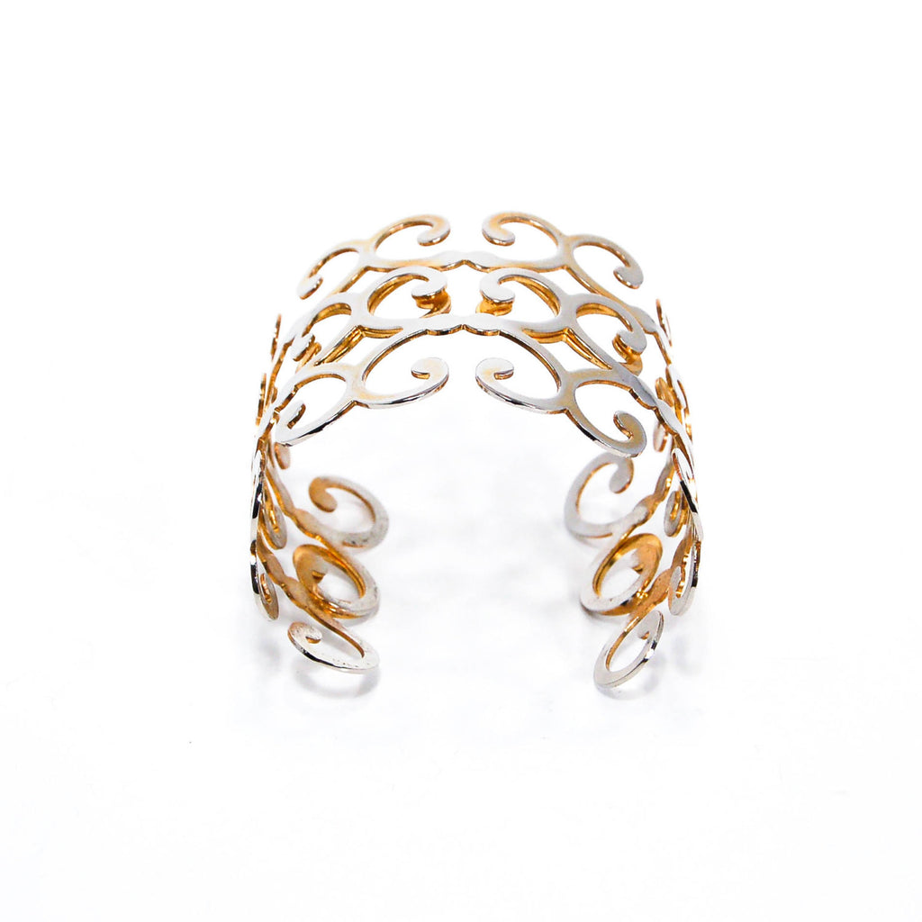Gold Scroll Cuff Bracelet - Vintage Meet Modern  - 4